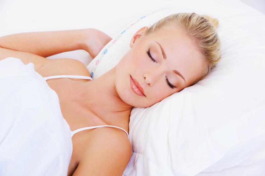 Close-up portrait of sleeping pretty beautiful woman