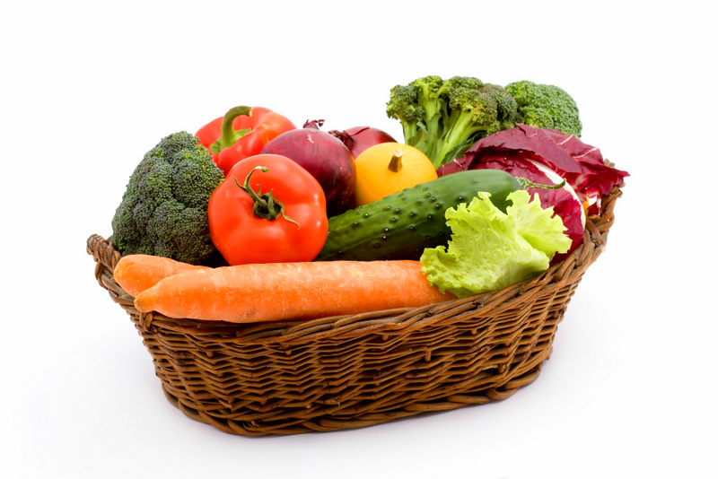 various vegetables and fruit studio isolated
